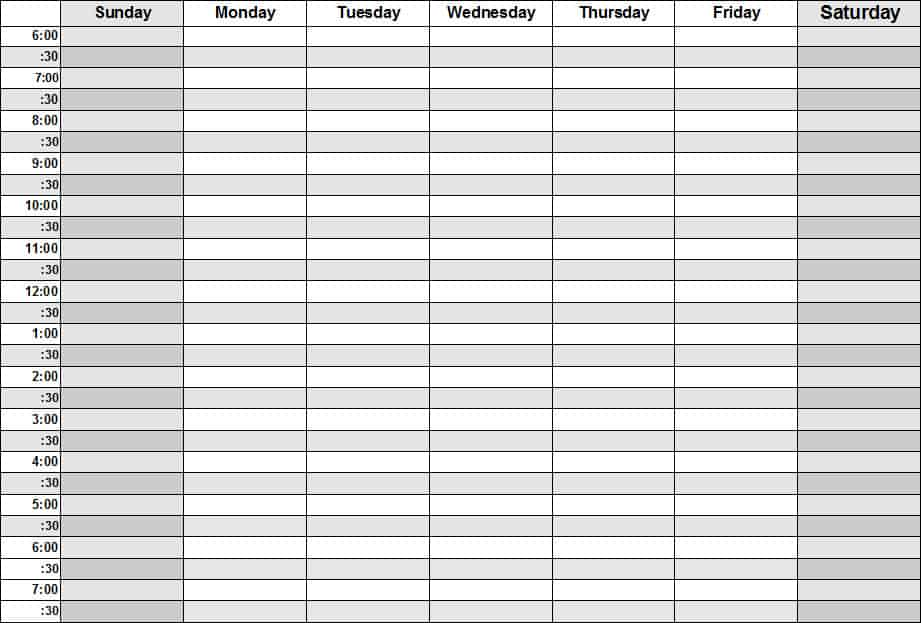 weekly schedule template 4