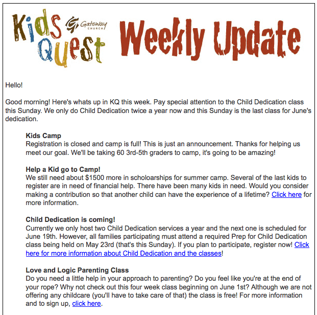 weekly update template 1
