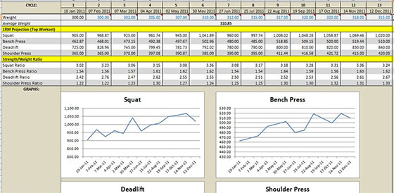 3 Weight Training Spreadsheet Templates - Excel xlts