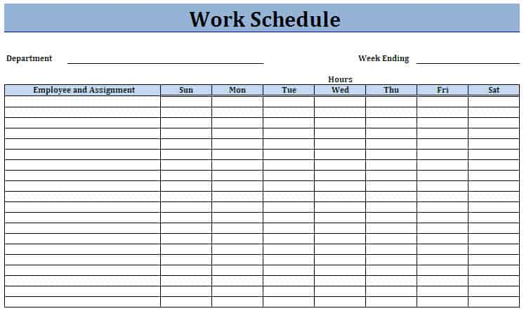 work schedule template preview 4