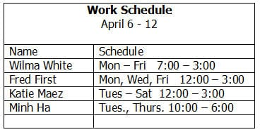 work schedule template preview 5