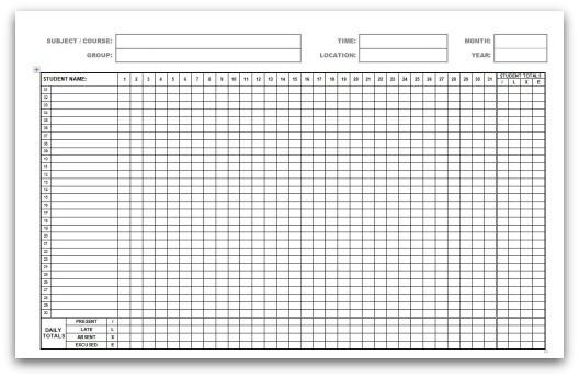 attendance register template 22
