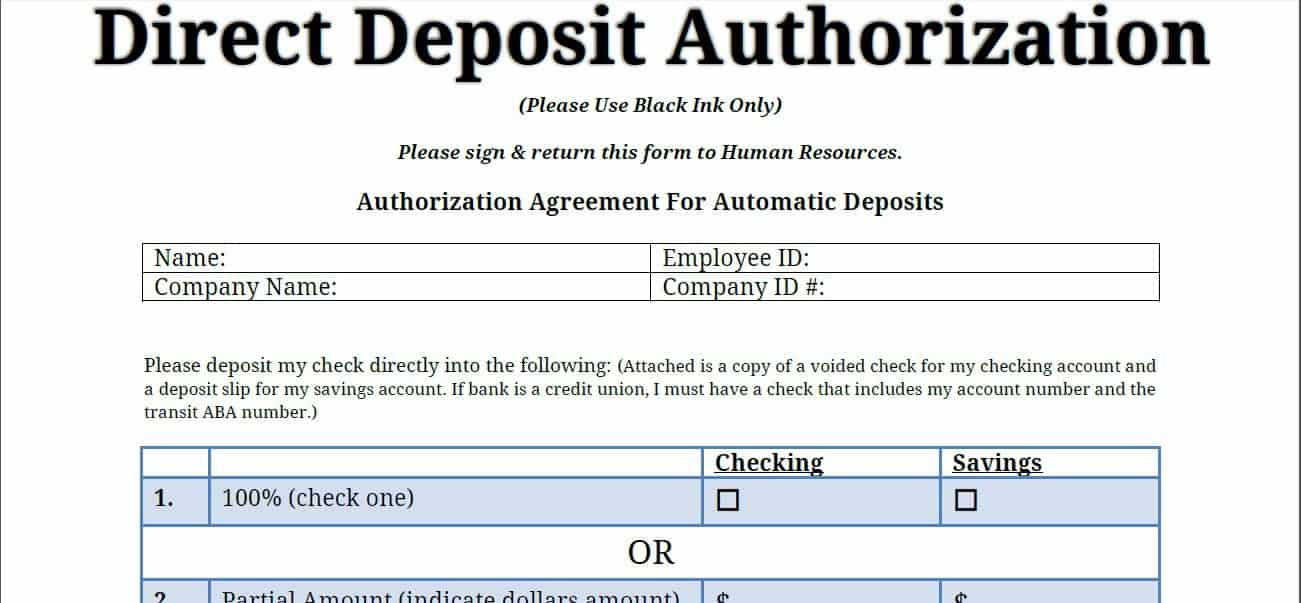 5 Direct Deposit Form Templates Word Excel Formats