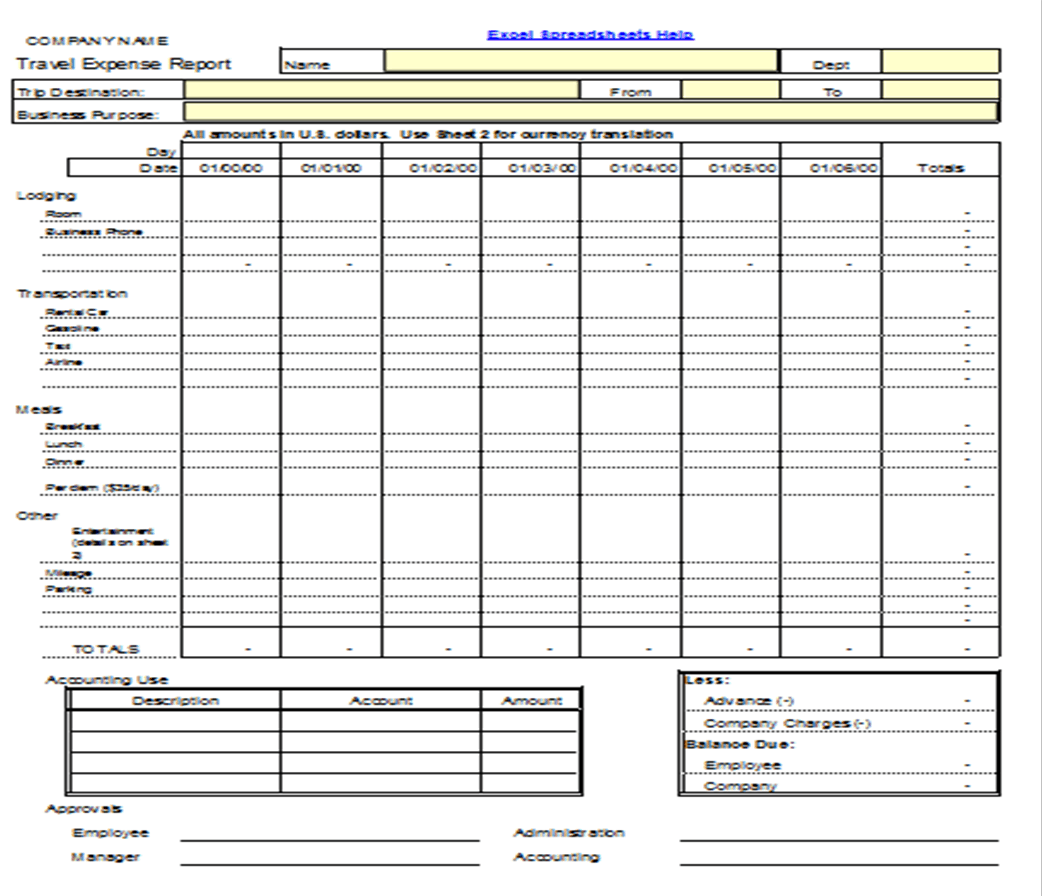 5 expense report form templates excel xlts