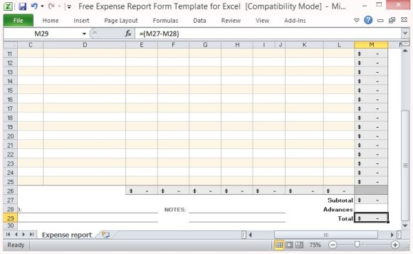 expense report form template 55