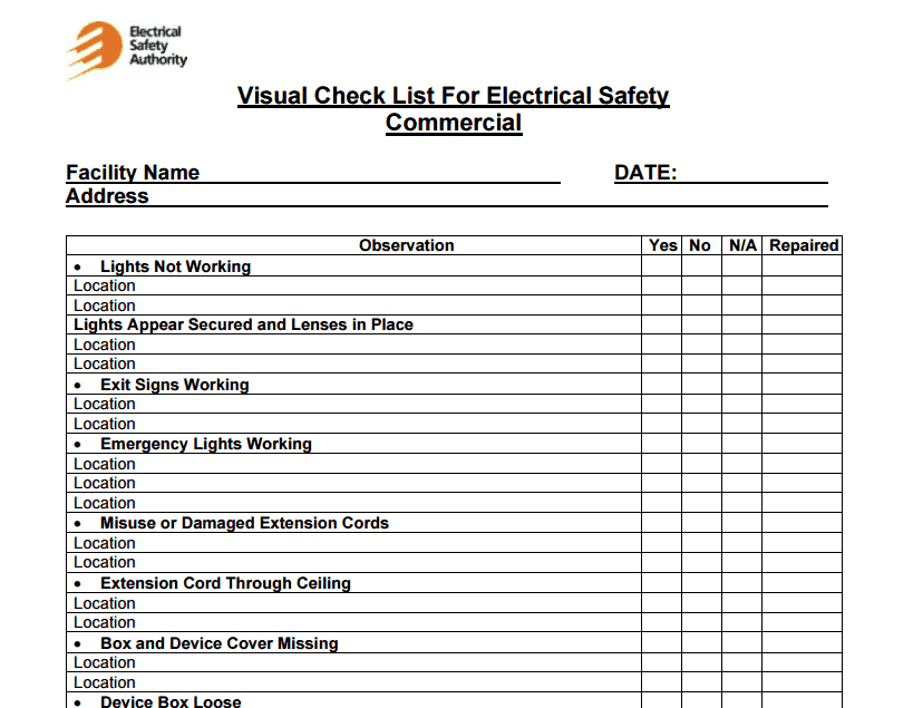 Facility Maintenance Checklist Template Word Excel Formats