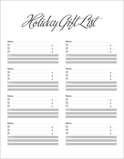 5 Gift List Templates Excel Xlts