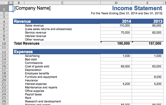 small business income statement template