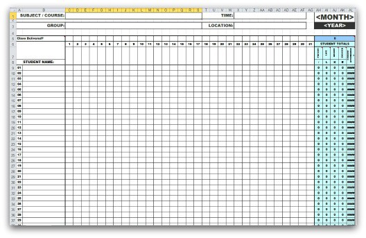 5 monthly attendance sheet templates excel xlts