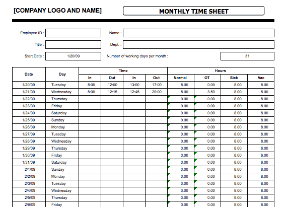 monthly timesheet template 11
