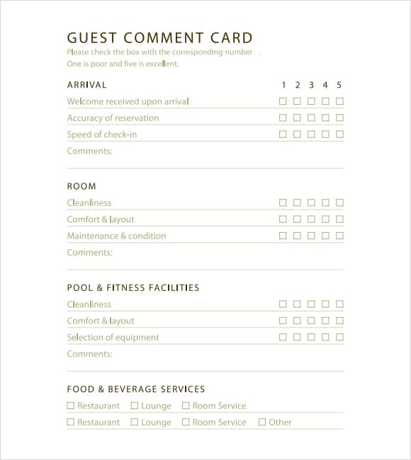 restaurant comment card template 22