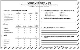 Comment Card Template | 5 Restaurant Comment Card Templates Excel Xlts