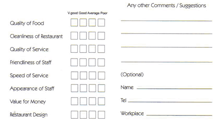 restaurant comment card template 44