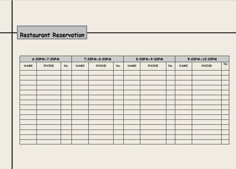 3 restaurant reservation log templates