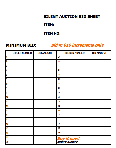 silent auction sign up sheet