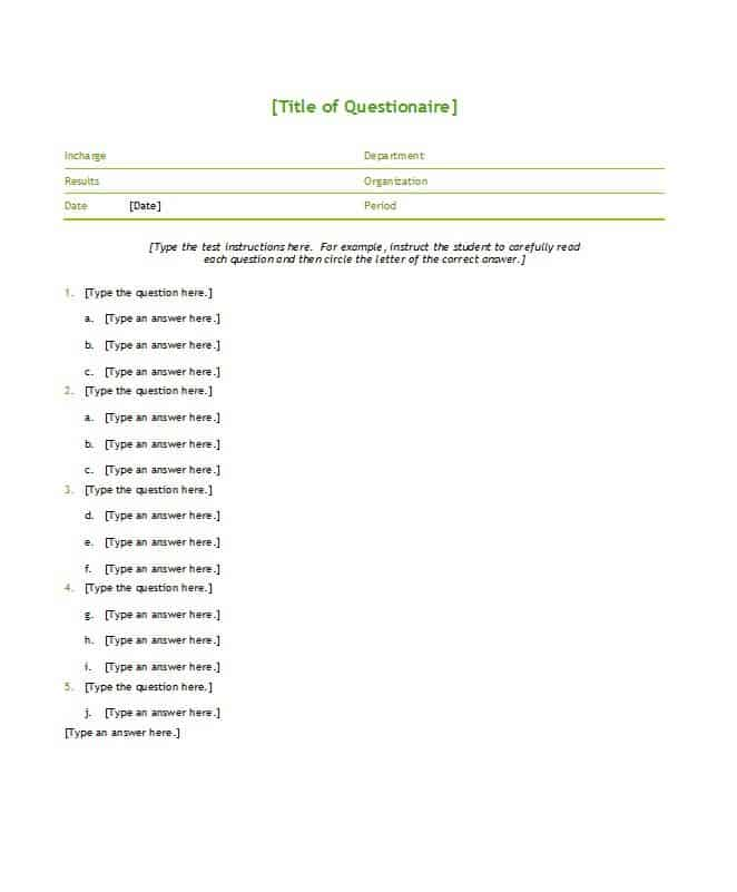 5 multiple choice test templates
